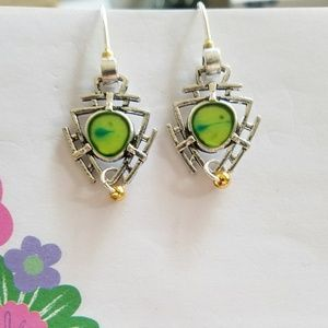 Silver triangle earrings with bright green center